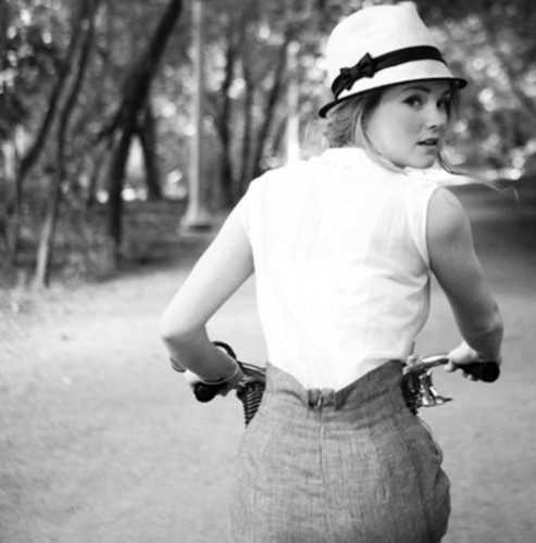 bike, black and white, girl, lovely, photography - inspiring picture on Favim.com