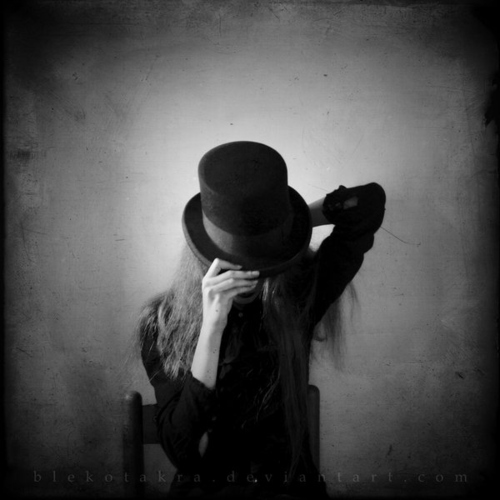 Black and white,Cylinder,Dark,Darkness,Girl,Hat – inspiring picture on PicShip.com