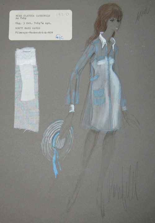 "10 Donfeld costume sketches for Claudia Cardinale in 1967′s ""Don't Make Waves"" — estate sale treasure — Retro Renovation"