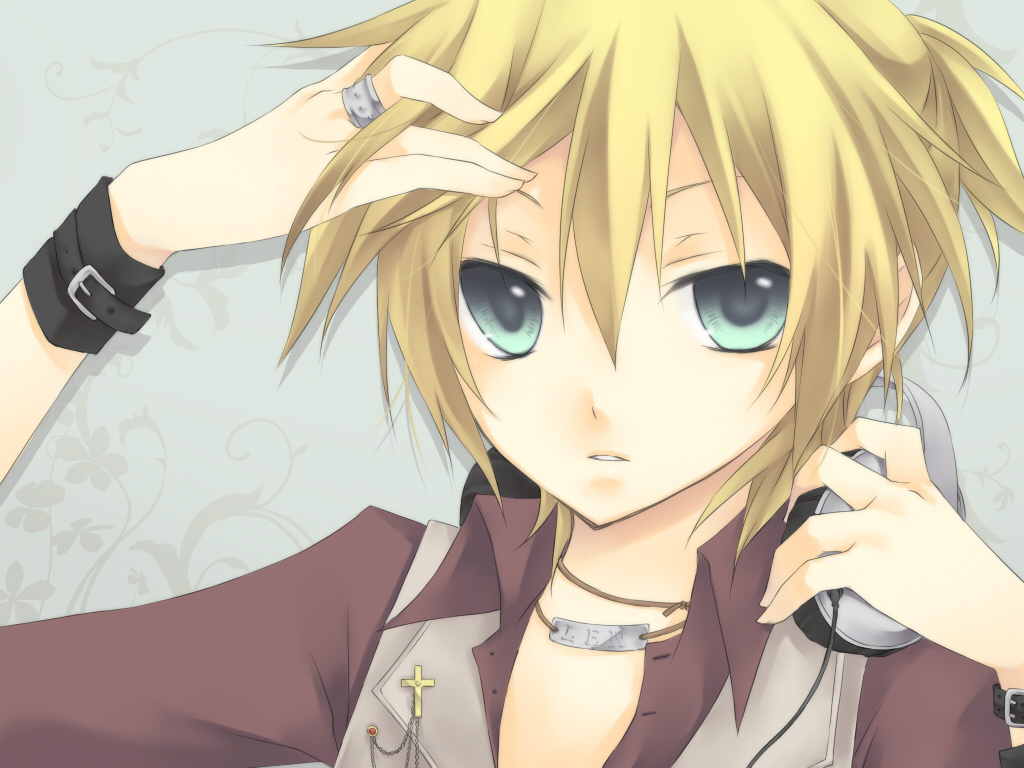 blonde hair blue blue eyes headphones kagamine len kuroi ...