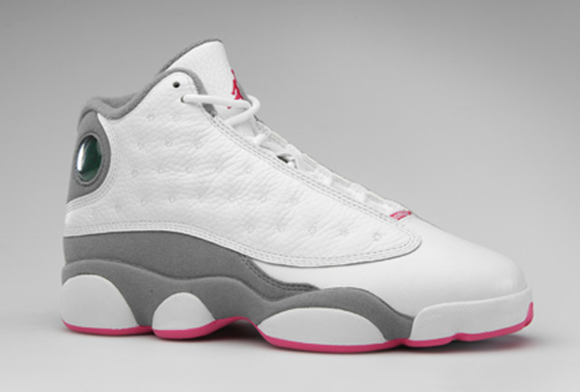 air jordan 13 white grey pink