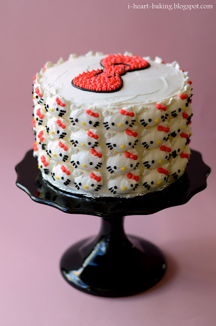 i heart baking!: hello kitty covered pink ombre cake with whipped chocolate ganache and swiss meringue buttercream