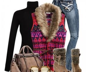 fur vest outfit idea