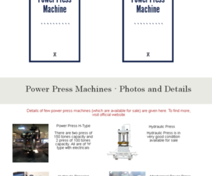 used power press in india