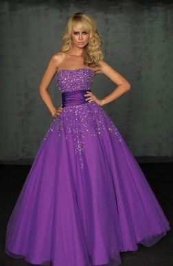 A-line Strapless Satin Floor-length Prom Dresses 05276 – HoneyDress.com