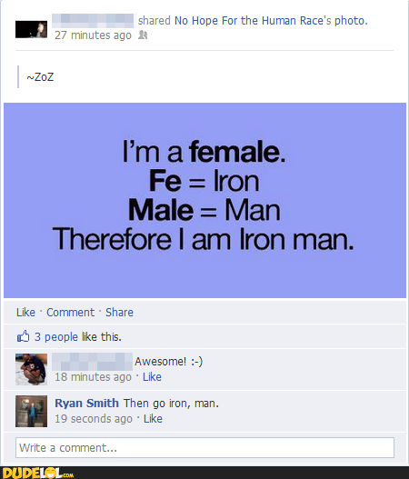 I Am Female, Therefore I Am Iron Man