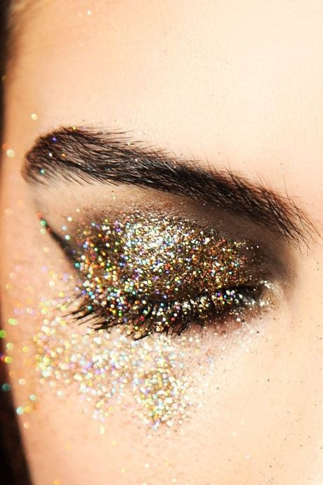 beauty, cute, eye shadow, glitter, gold - inspiring picture on Favim.com