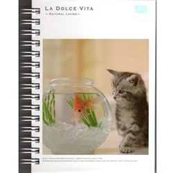 M 10743 2T large Mind Wave Kitty & Fish Bowl La Dolce Vita A6 Hard Cover Spiral Notebook