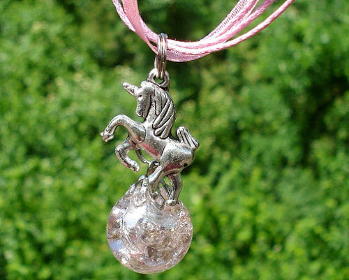 Unicorn Fried Marble Charm on Pink Ribbon Necklace by KatieDidsx3