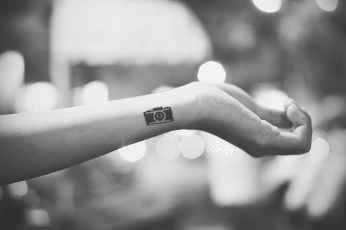 b&w, black and white, bokeh, camera, camera tattoo - inspiring picture on Favim.com