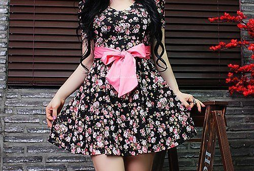 beautiful, bow, dress, floral, pink - inspiring picture on Favim.com