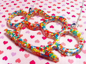 Candy Sprinkles Knuckle Duster Resin Necklace... Rockabilly / Punk / Scene | eBay