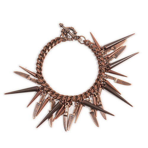 Chain Spike and Knife Bracelet in Rust by bhearns on Etsy