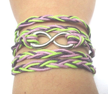 Braided Purple and Green Cotton Cord Infinity by MaesDesigns