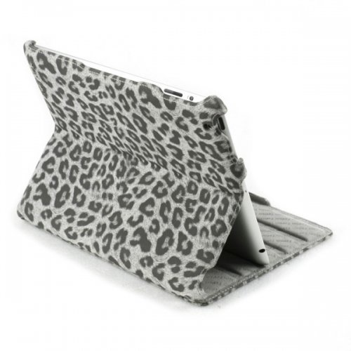 13349950160 large Leather Case for iPad 3 New iPad with Leopard Heat Dissipation Smart Cover Stand Black   Slickfans.com