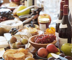 wine and cheese table.