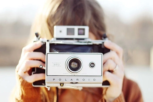 camera, girl, and polaroid image
