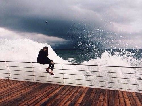 girl, sea, and waves image