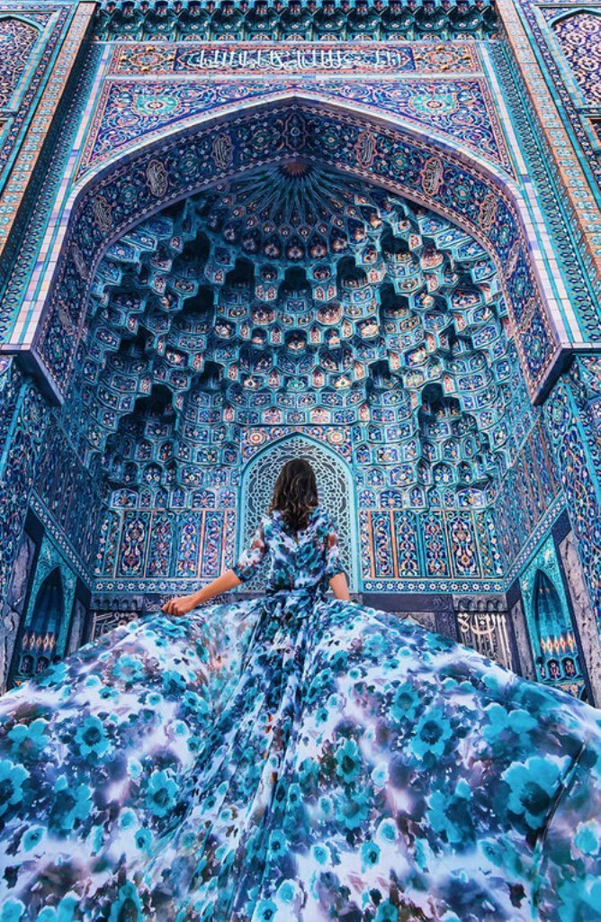 blue, dress, and art image