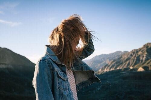 girl, hair, and mountains image