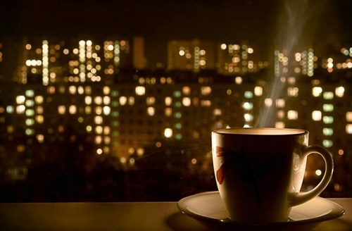 night, coffee, and light image