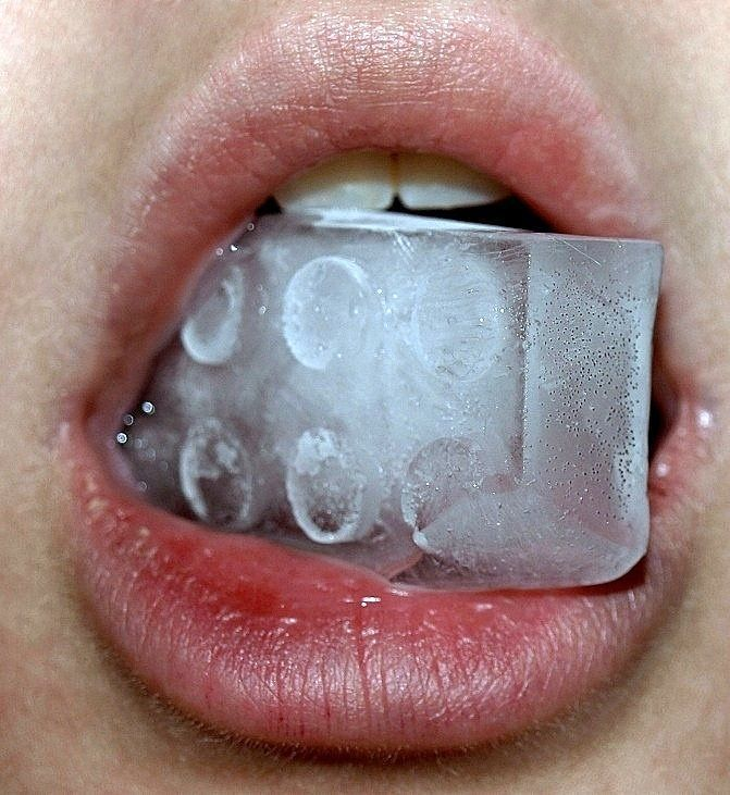 lips, ice, and mouth image