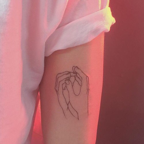 tattoo, hands, and pink image