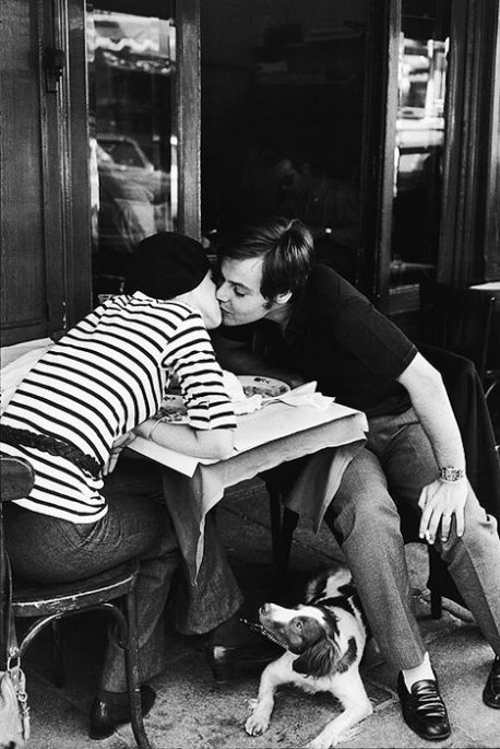 ❤~❤~ Vintage Couple Lo♥e ~❤~❤, Sidewalk Cafe, Boulevard Diderot, Paris, 1969 -...