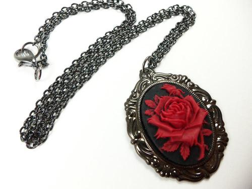 Victorian Style Necklace Red Rose Jewelry Dark Gun Metal Jewelry | Luulla