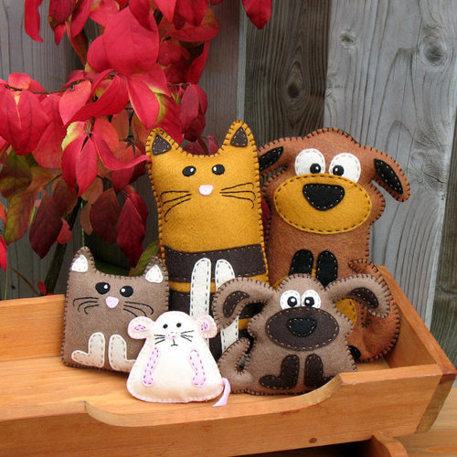 5 Hand Sewing PATTERNS Cat Dog Kitten Puppy by LittleHibouShoppe