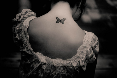 small butterfly neck tattoos. Black Bedroom Furniture Sets. Home Design Ideas