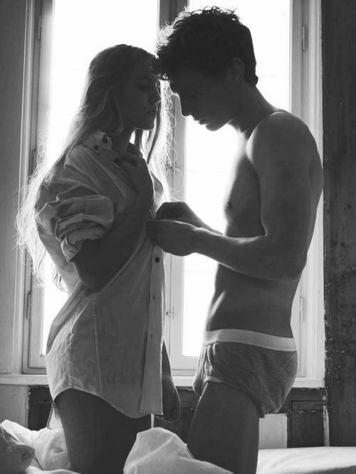 bed, black and white, couple, love, sex - inspiring picture on Favim.com