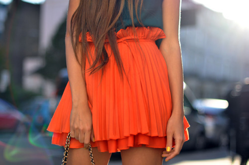 orange skirt | StyleCaster