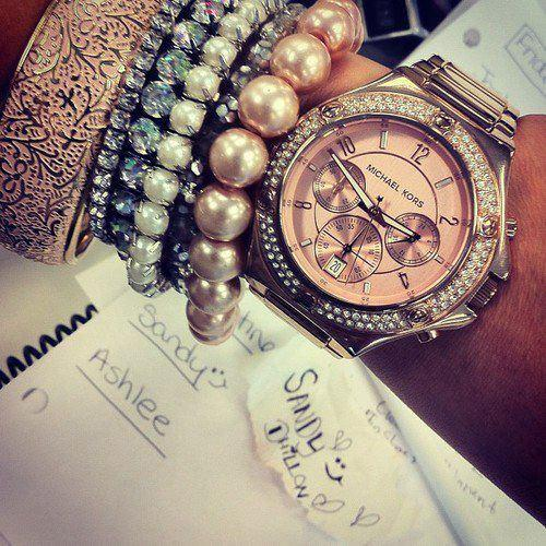 Michael Kors Silver Pink Watch