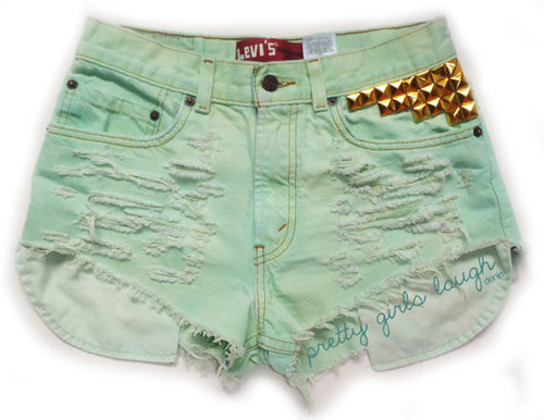 Gold Studded Turquoise Levi Denim Shorts by prettygirlslaugh