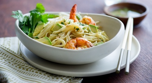 Every delicious calorie (Avocado Shrimp Noodle Salad)