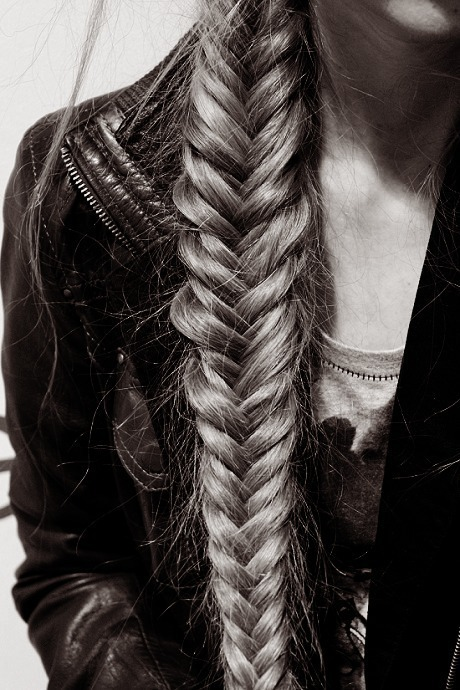 black and white, fish tail, girl, long hair, plait - inspiring picture on Favim.com