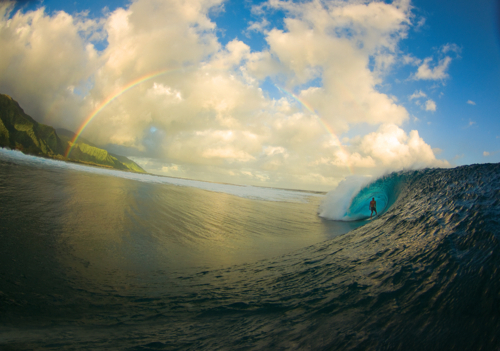 beach, nature, rainbow, surfer, water - inspiring picture on Favim.com