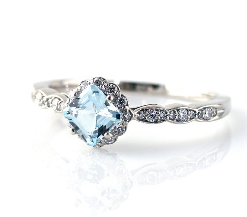 14K Asscher Aquamarine Diamond Engagement Ring - Love It So Much