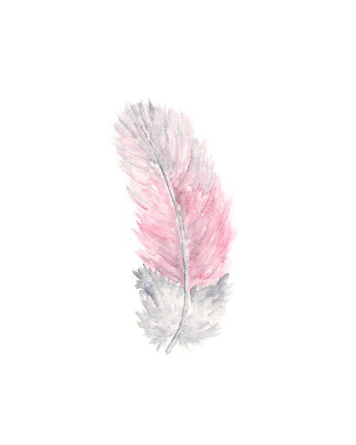 Watercolor feather painting nature feathers by ThimbleSparrow