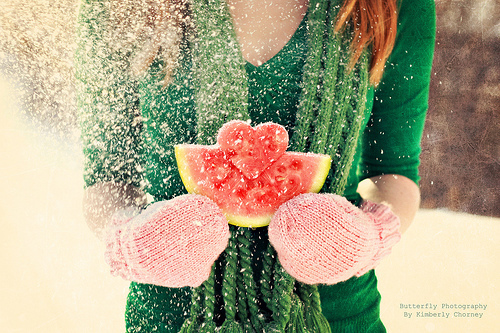 girl, heart, watermelon - inspiring picture on Favim.com
