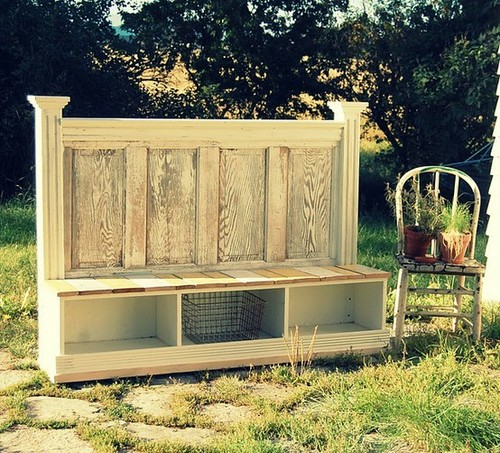 D.I.Y / Old door turned bench storage. I seriously want this for the entry way!