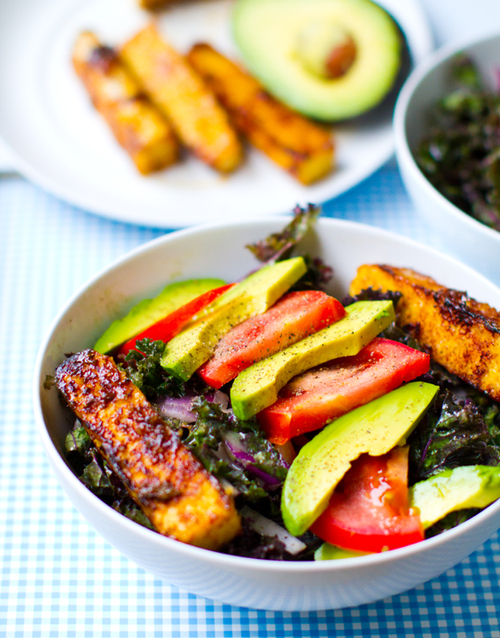 Kale Avocado Wraps w/ Spicy Miso-Dipped Tempeh. - Healthy. Happy. Life.
