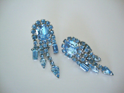 Blue Art Deco Rhinestone Dangle Earrings by CrimsonVintique