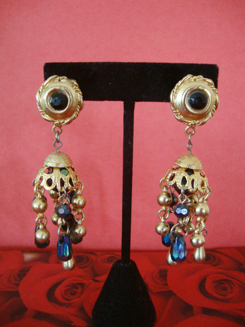 Boho Huge Dangle Runway Earrings Beads Runway by CrimsonVintique