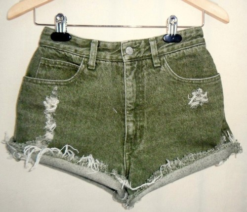 29inch Vintage High Waist GUESS Green Cut Off Jean Shorts | eBay