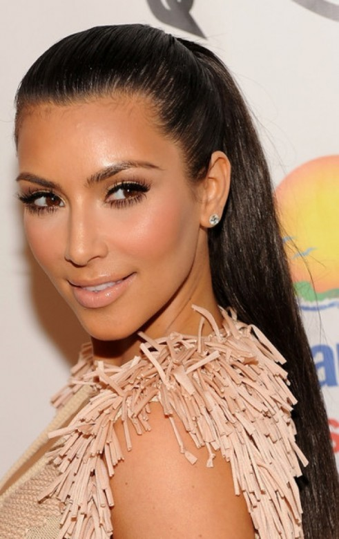 kim kardashian beautiful picture 2012 hair in a ponytail 