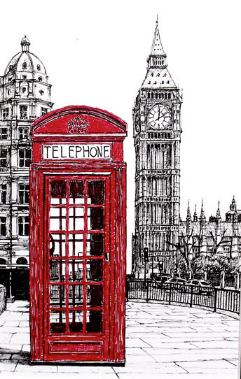 Red London phone booth Big ben Original Ink by TheOriginalDrawings
