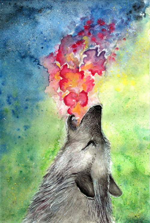 wolf, color, colorful, art, painting - inspiring picture on Favim.com