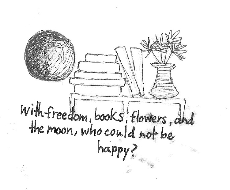 Book, Flowers, And Moon